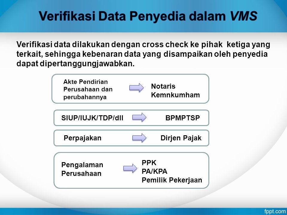 Verifikasi Data Penyedia dalam VMS