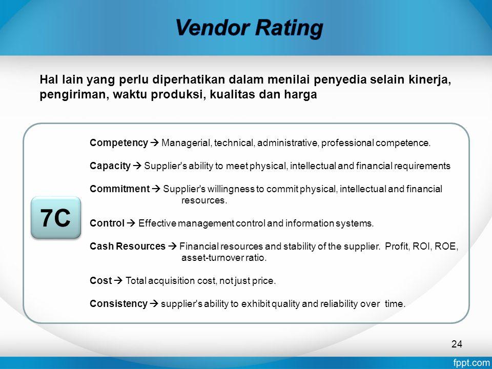 Vendor Rating Hal lain yang perlu diperhatikan dalam menilai penyedia selain kinerja, pengiriman, waktu produksi, kualitas dan harga.