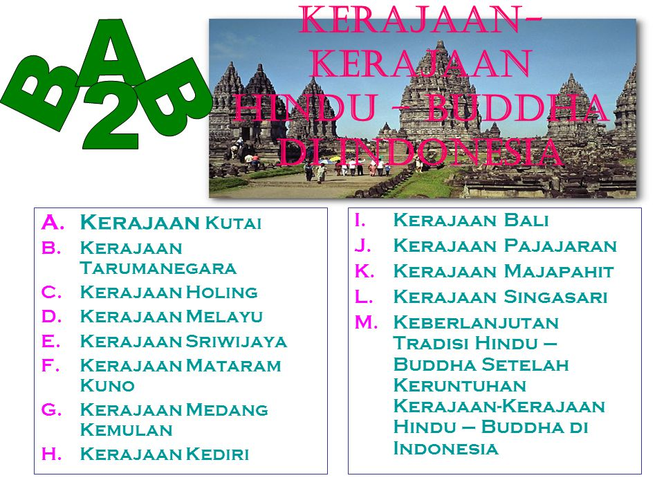 KERAJAAN-KERAJAAN HINDU – BUDDHA DI INDONESIA