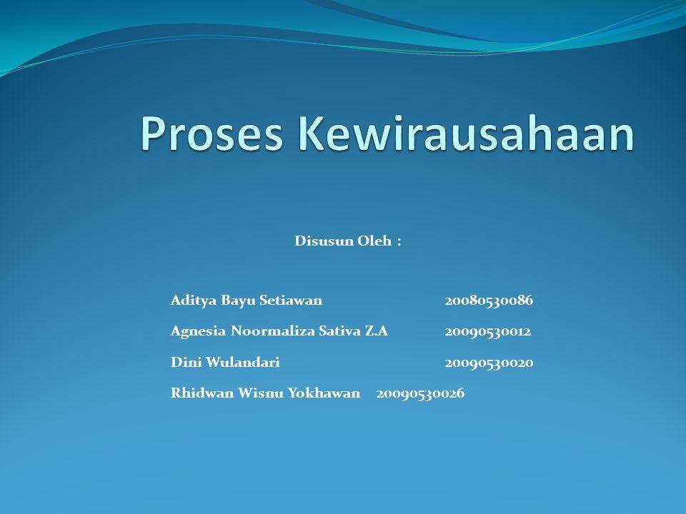 Proses Kewirausahaan Disusun Oleh : Aditya Bayu Setiawan 20080530086