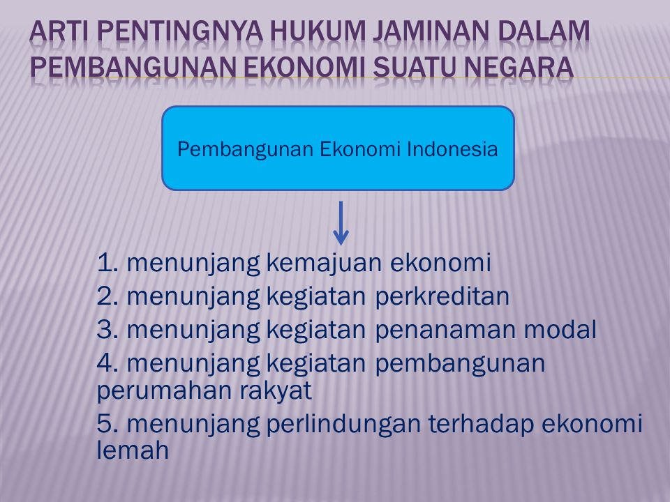Arti pentingnya Hukum Jaminan dalam Pembangunan Ekonomi suatu Negara