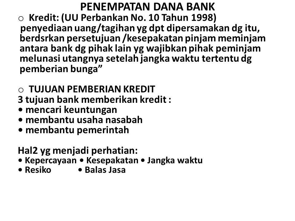 PENEMPATAN DANA BANK Kredit: (UU Perbankan No. 10 Tahun 1998)