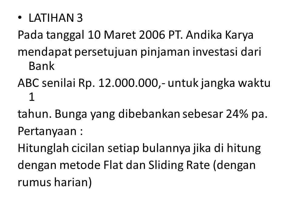 LATIHAN 3 Pada tanggal 10 Maret 2006 PT. Andika Karya. mendapat persetujuan pinjaman investasi dari Bank.