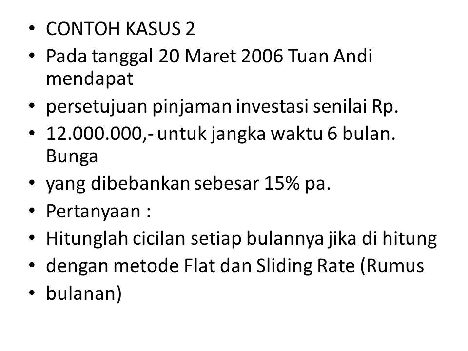 CONTOH KASUS 2 Pada tanggal 20 Maret 2006 Tuan Andi mendapat. persetujuan pinjaman investasi senilai Rp.