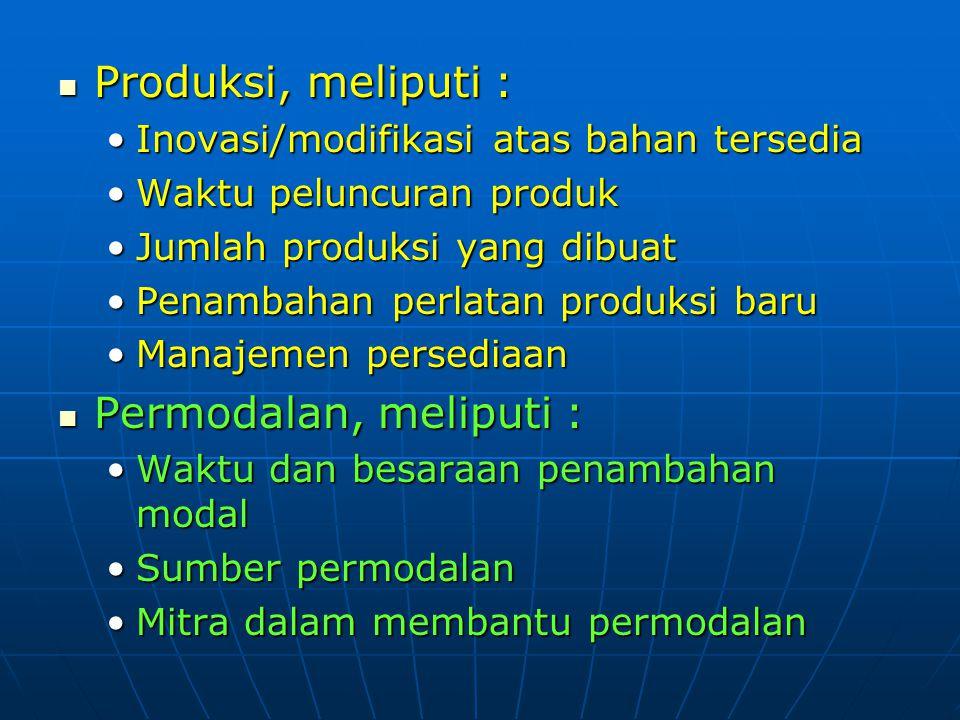 Produksi, meliputi : Permodalan, meliputi :