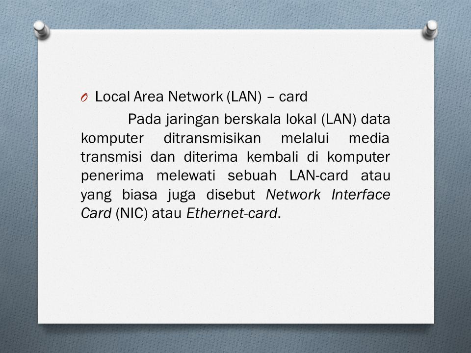 Local Area Network (LAN) – card