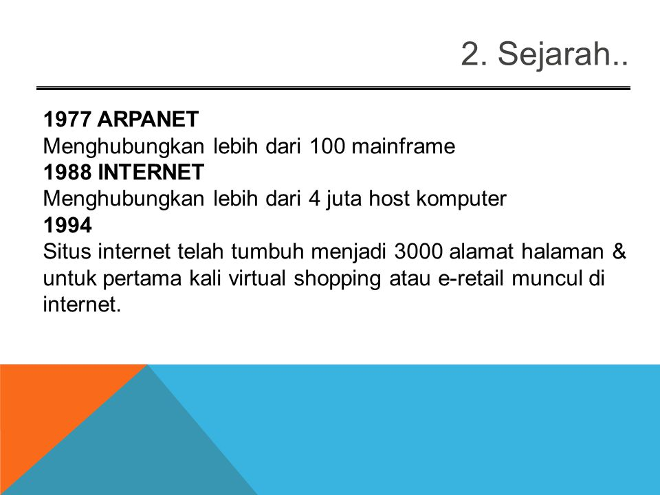 2. Sejarah.. 1977 ARPANET Menghubungkan lebih dari 100 mainframe