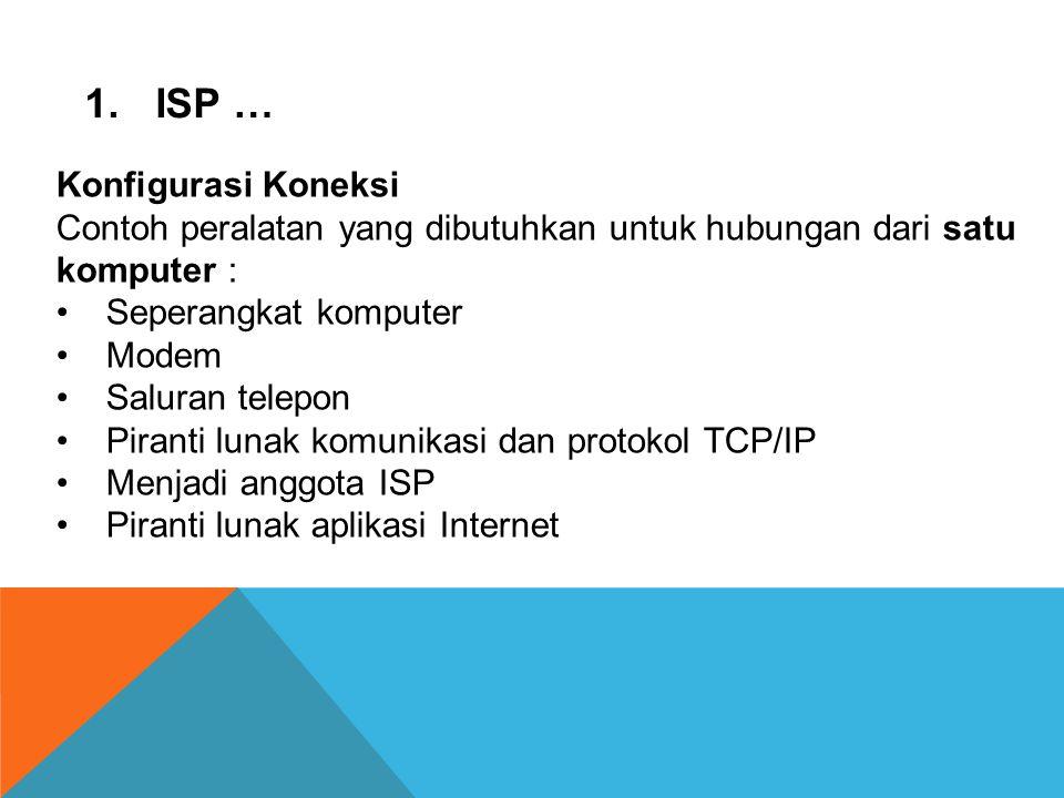 ISP … Konfigurasi Koneksi