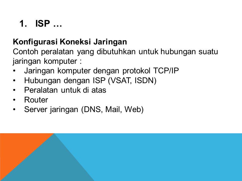 ISP … Konfigurasi Koneksi Jaringan