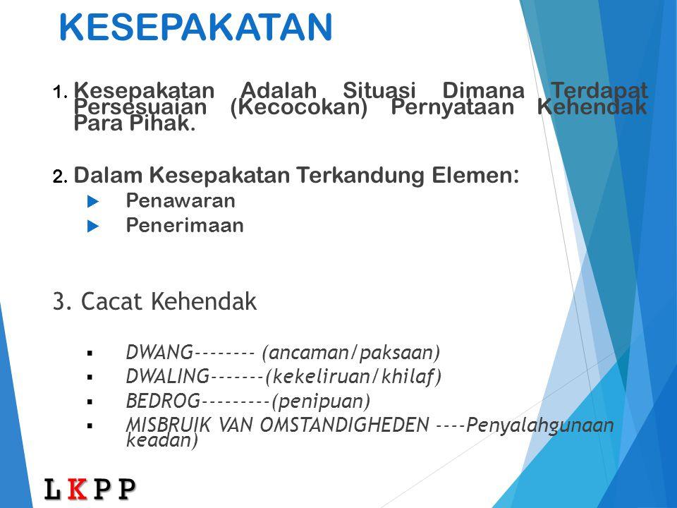 KESEPAKATAN L K P P 3. Cacat Kehendak