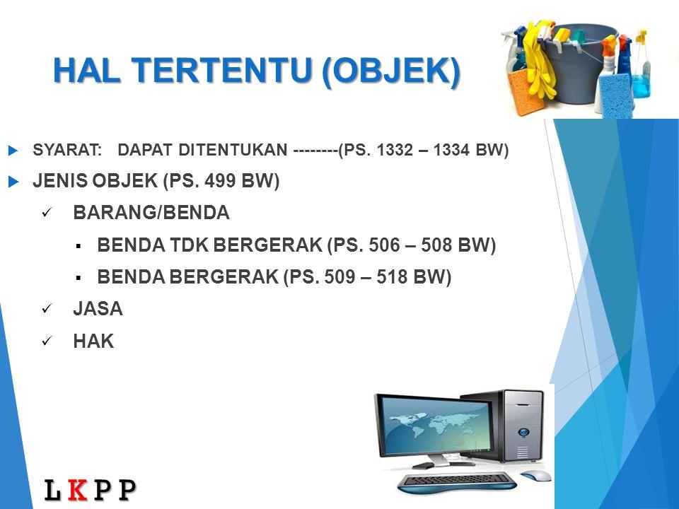 HAL TERTENTU (OBJEK) L K P P JENIS OBJEK (PS. 499 BW) BARANG/BENDA