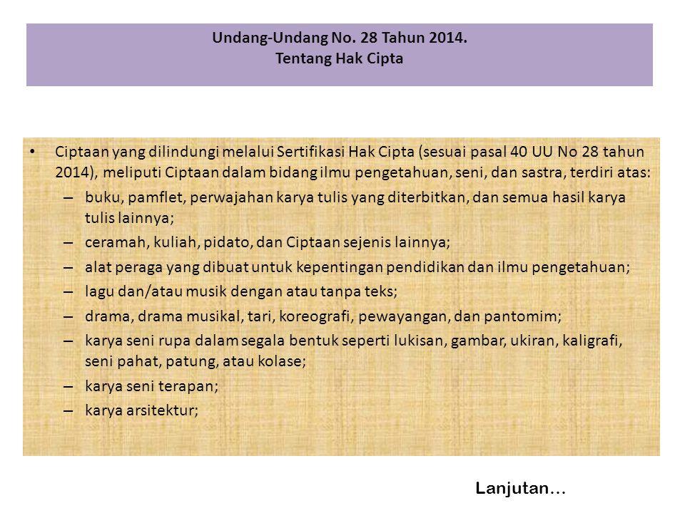 Undang-Undang No. 28 Tahun 2014.