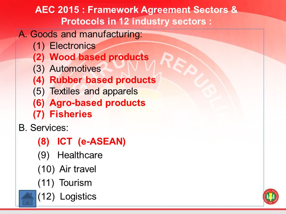 AEC 2015 : Framework Agreement Sectors & Protocols in 12 industry sectors :