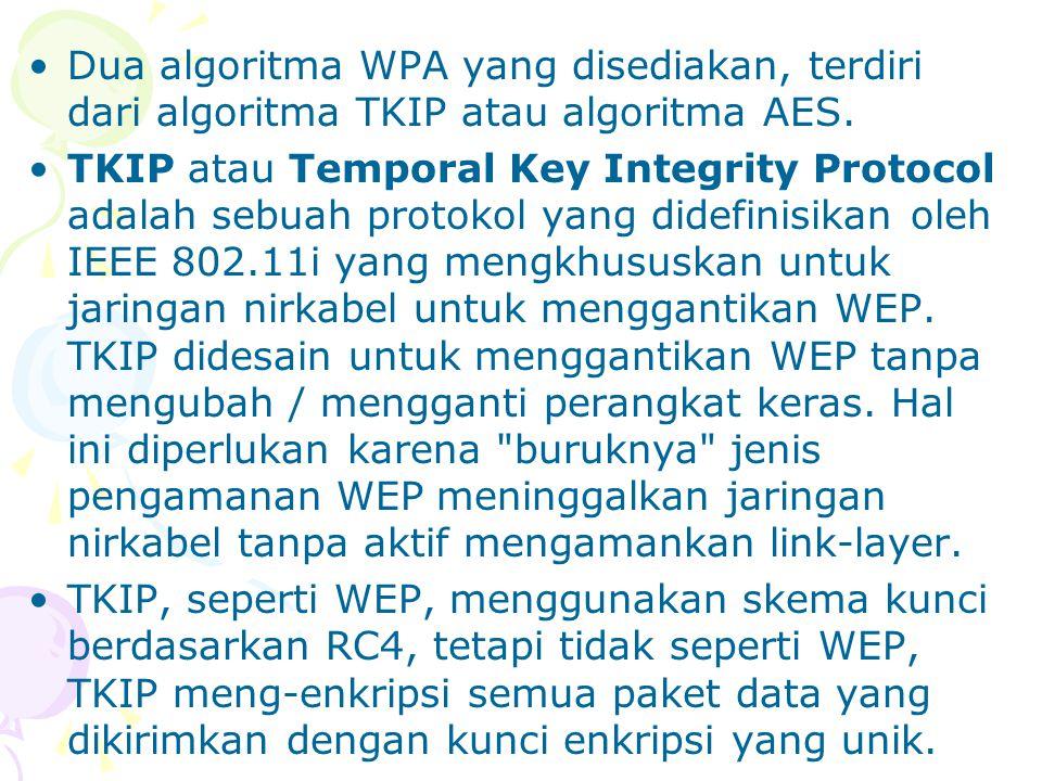 Dua algoritma WPA yang disediakan, terdiri dari algoritma TKIP atau algoritma AES.