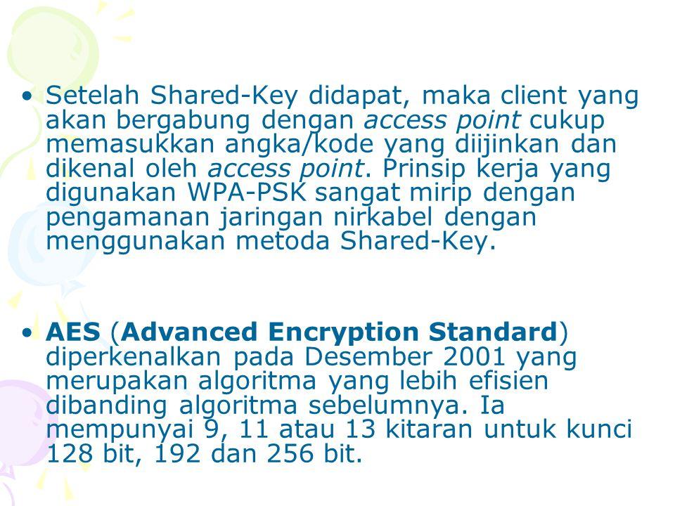 Setelah Shared-Key didapat, maka client yang akan bergabung dengan access point cukup memasukkan angka/kode yang diijinkan dan dikenal oleh access point. Prinsip kerja yang digunakan WPA-PSK sangat mirip dengan pengamanan jaringan nirkabel dengan menggunakan metoda Shared-Key.