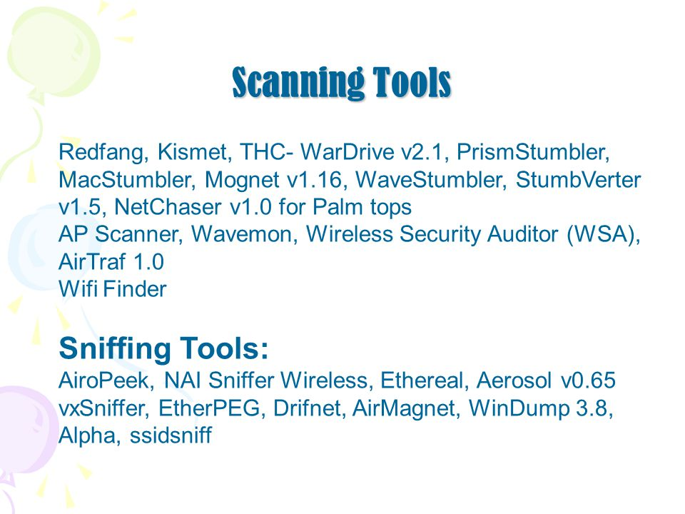 Scanning Tools Sniffing Tools: