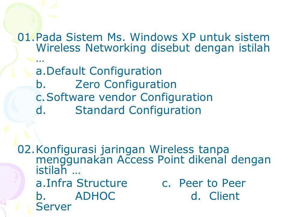 01. Pada Sistem Ms. Windows XP untuk sistem Wireless Networking disebut dengan istilah …