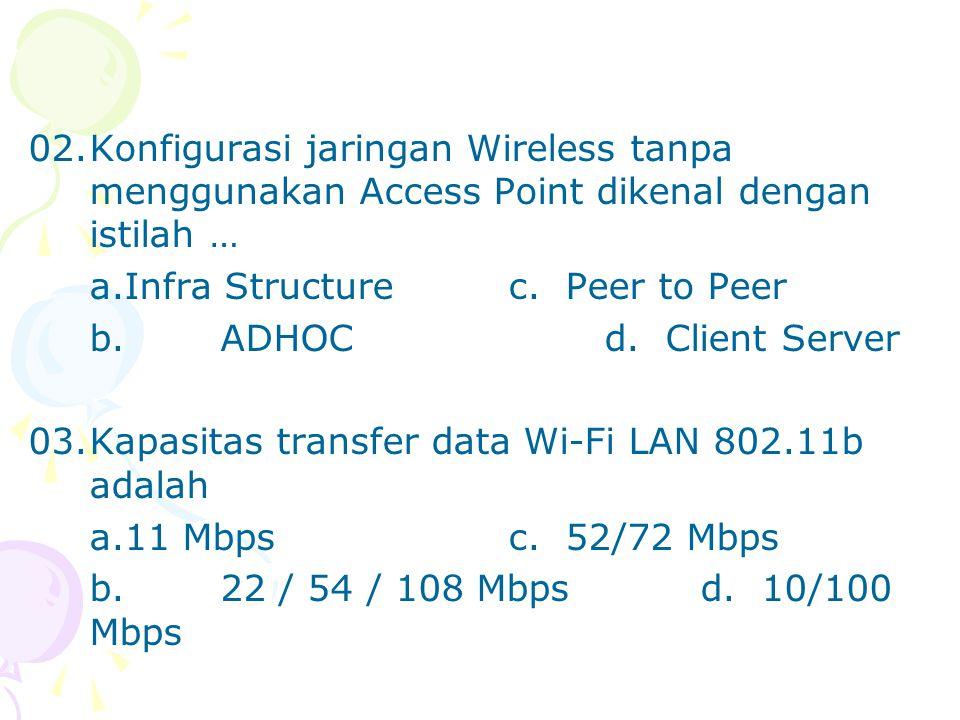 02. Konfigurasi jaringan Wireless tanpa menggunakan Access Point dikenal dengan istilah …