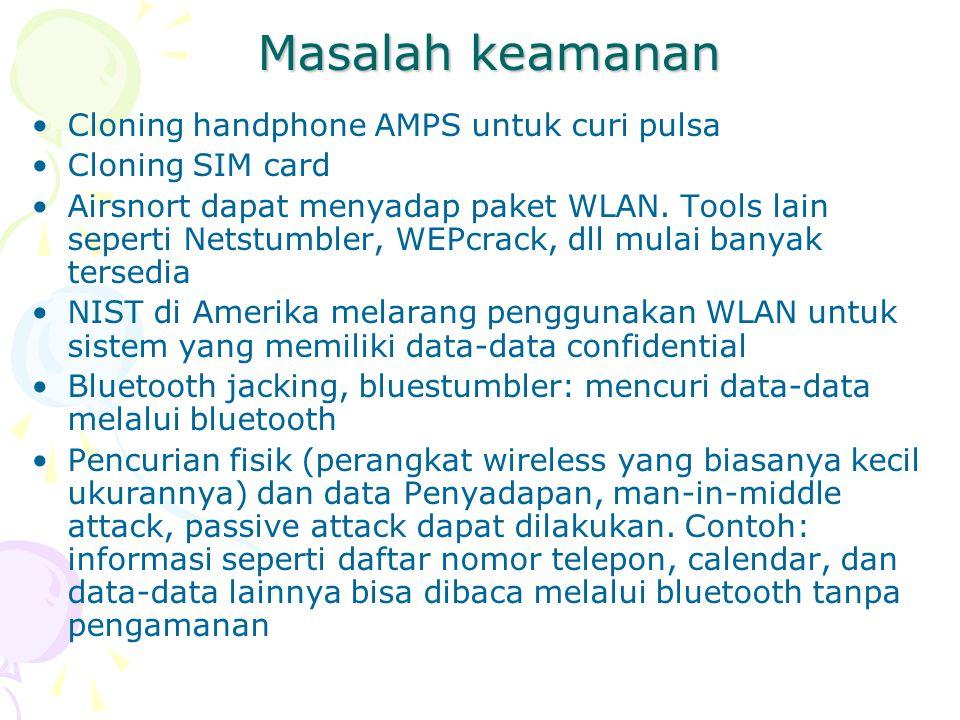 Masalah keamanan Cloning handphone AMPS untuk curi pulsa