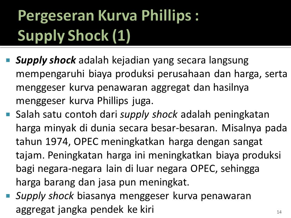 Pergeseran Kurva Phillips : Supply Shock (1)