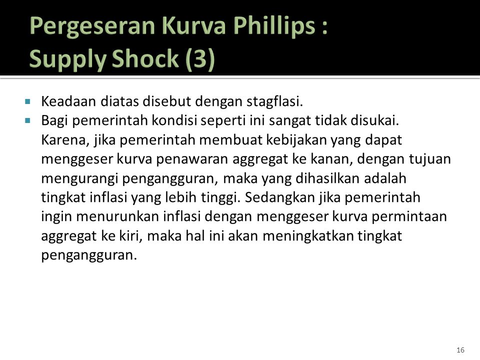 Pergeseran Kurva Phillips : Supply Shock (3)