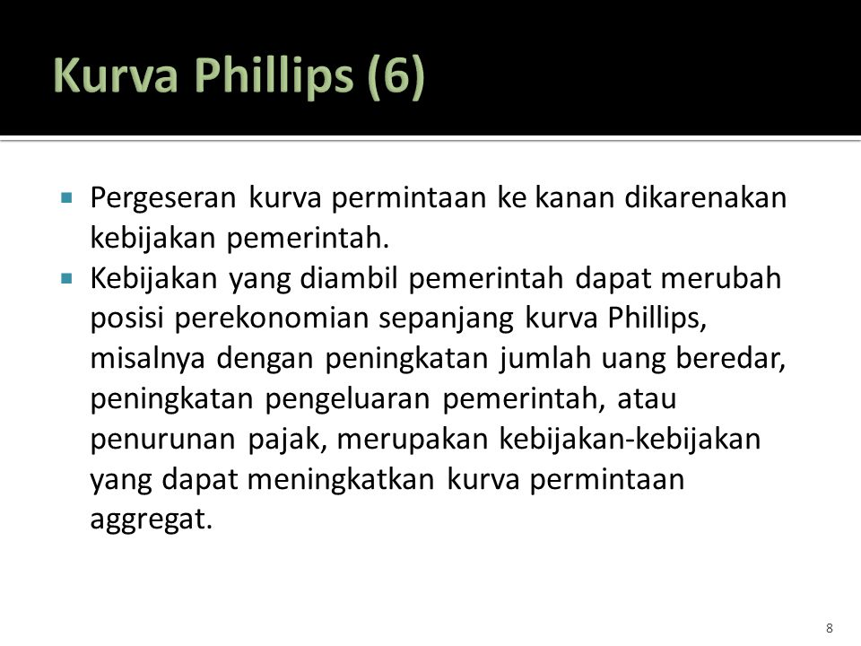 Kurva Phillips (6) Pergeseran kurva permintaan ke kanan dikarenakan kebijakan pemerintah.