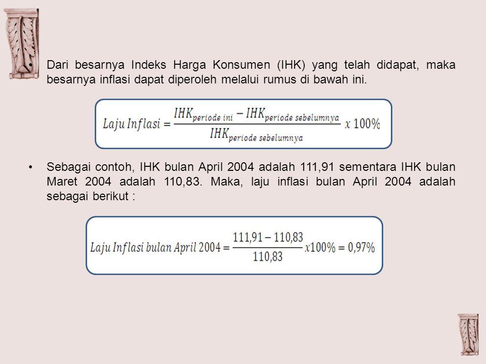 Dari besarnya Indeks Harga Konsumen (IHK) yang telah didapat, maka besarnya inflasi dapat diperoleh melalui rumus di bawah ini.