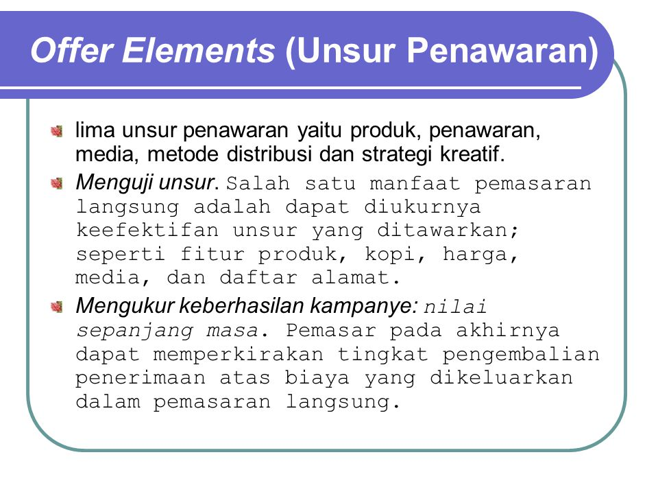 Offer Elements (Unsur Penawaran)