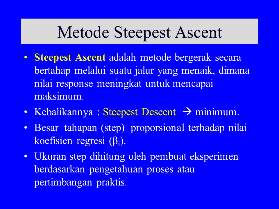 Metode Steepest Ascent