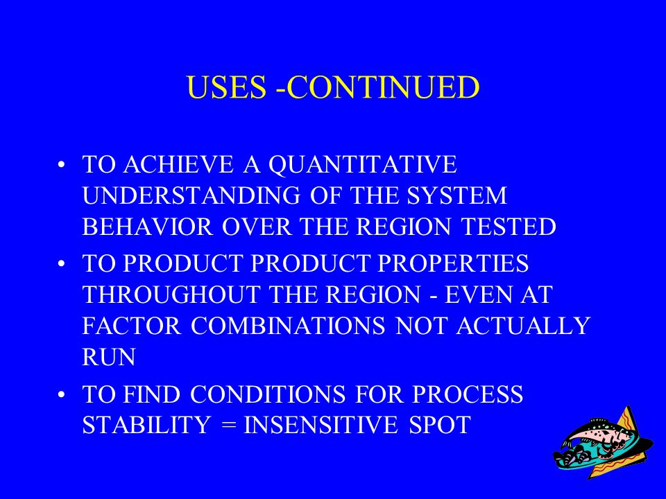 USES -CONTINUED TO ACHIEVE A QUANTITATIVE UNDERSTANDING OF THE SYSTEM BEHAVIOR OVER THE REGION TESTED.