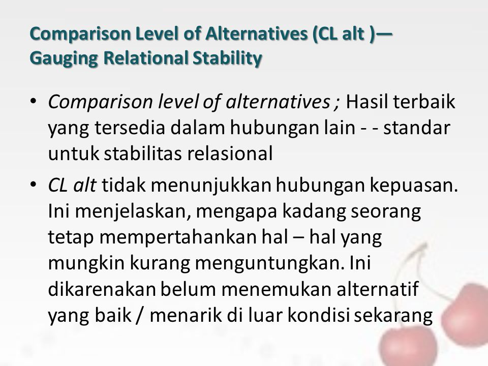 Comparison Level of Alternatives (CL alt )—Gauging Relational Stability
