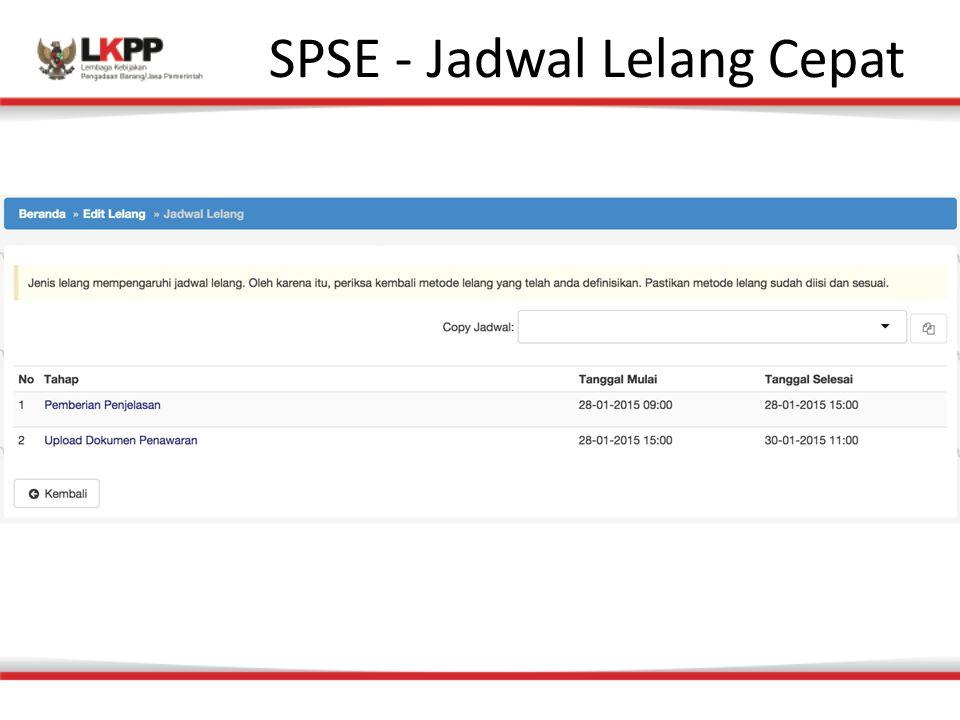 SPSE - Jadwal Lelang Cepat