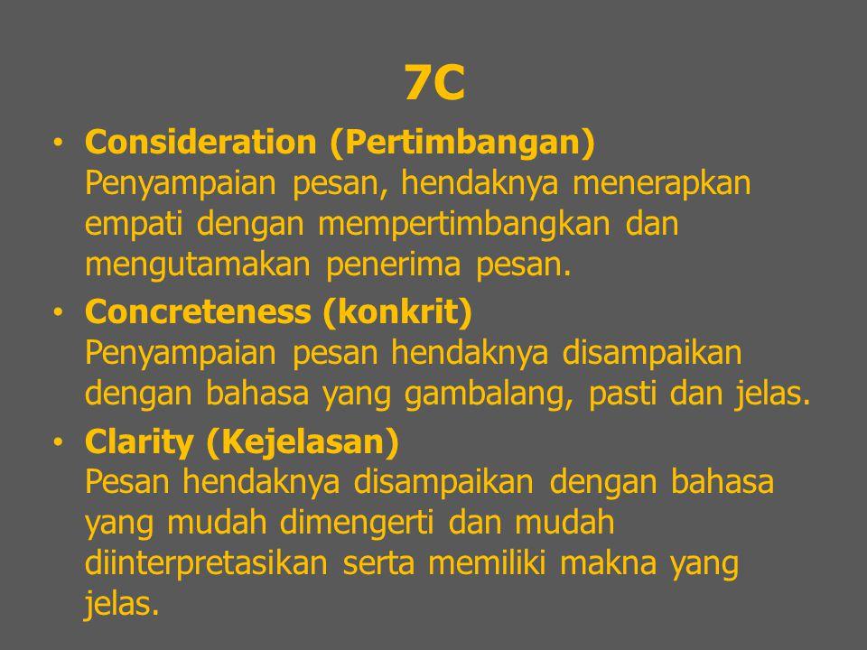 7C Consideration (Pertimbangan) Penyampaian pesan, hendaknya menerapkan empati dengan mempertimbangkan dan mengutamakan penerima pesan.