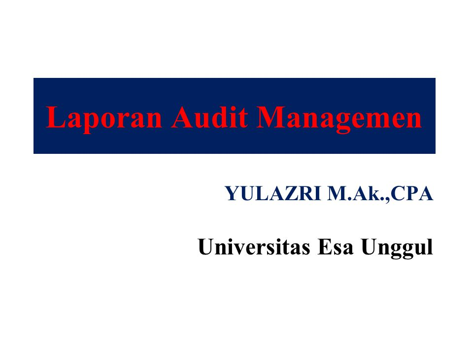 Laporan Audit Managemen