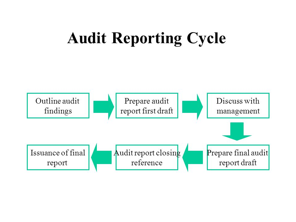 Audit Reporting Cycle Outline audit findings Prepare audit