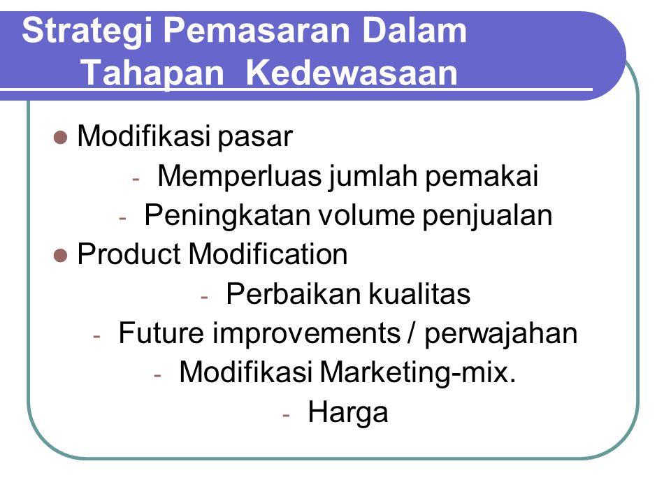 Strategi Pemasaran Dalam Tahapan Kedewasaan