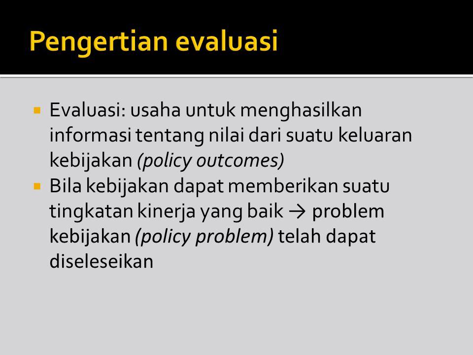 Pengertian evaluasi Evaluasi: usaha untuk menghasilkan informasi tentang nilai dari suatu keluaran kebijakan (policy outcomes)
