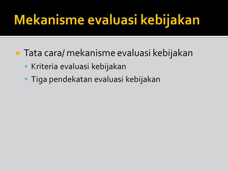 Mekanisme evaluasi kebijakan