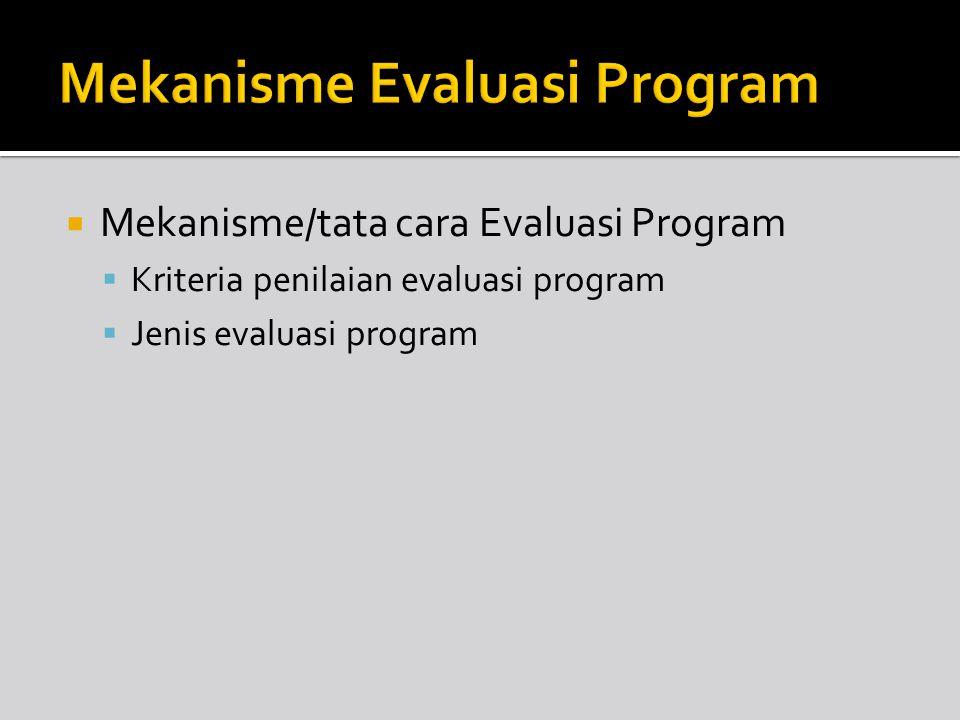 Mekanisme Evaluasi Program