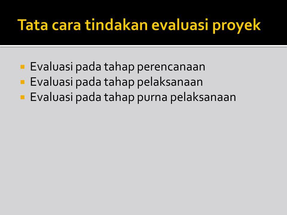 Tata cara tindakan evaluasi proyek