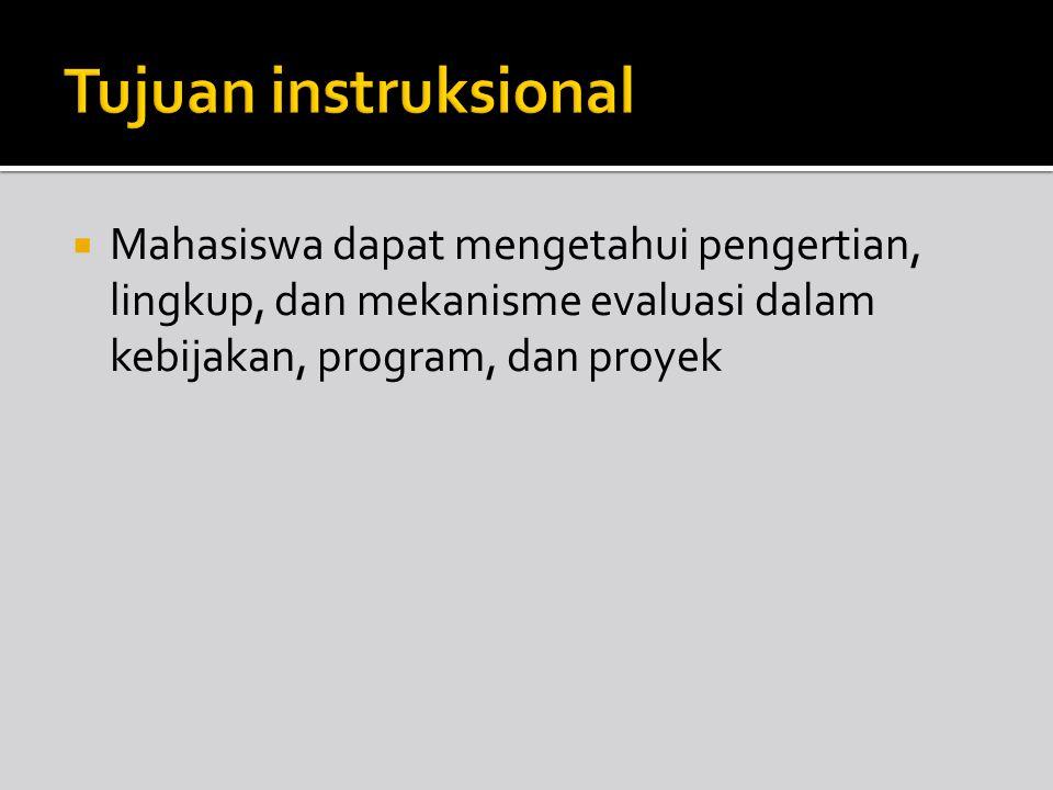 Tujuan instruksional Mahasiswa dapat mengetahui pengertian, lingkup, dan mekanisme evaluasi dalam kebijakan, program, dan proyek.