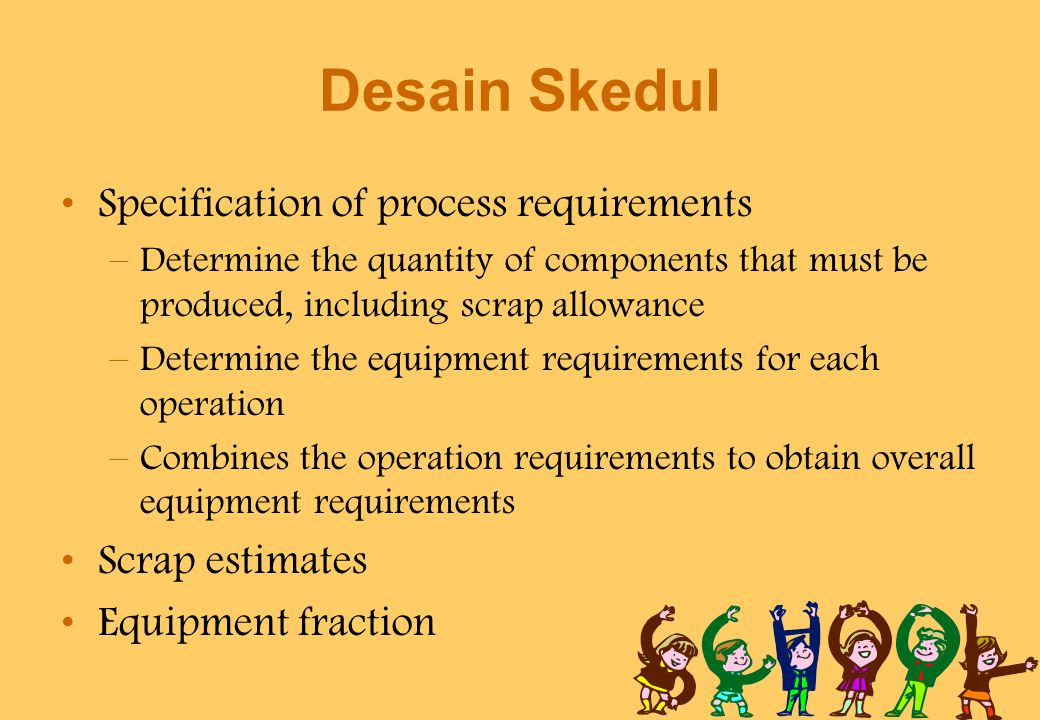 Desain Skedul Specification of process requirements Scrap estimates