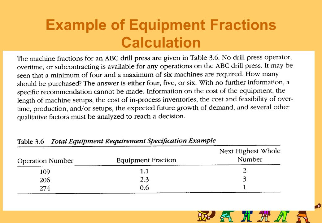 Example of Equipment Fractions Calculation