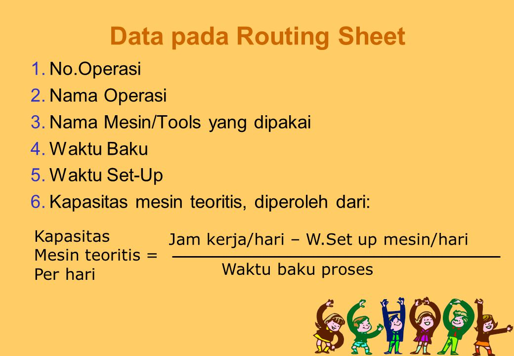 Data pada Routing Sheet