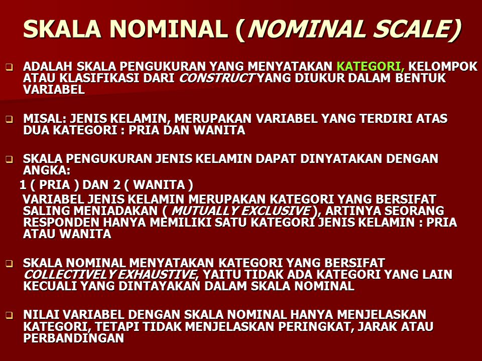 SKALA NOMINAL (NOMINAL SCALE)