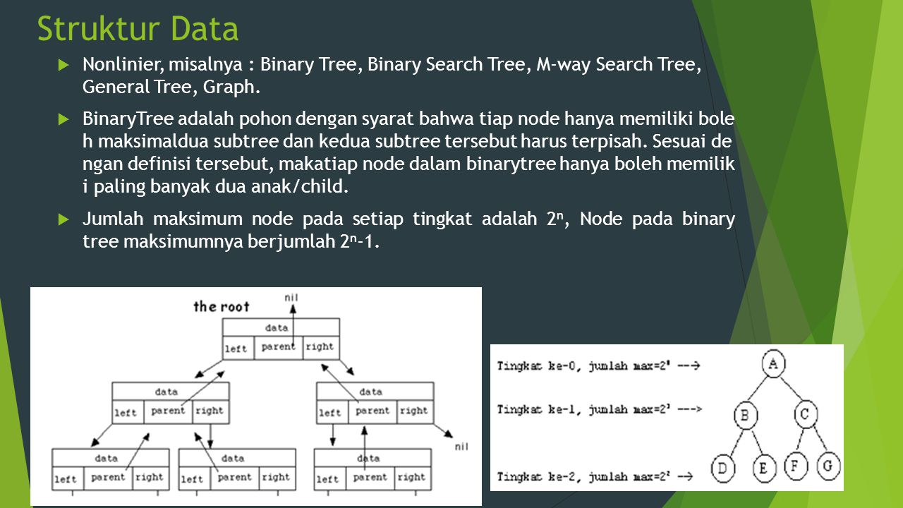 Struktur Data Nonlinier, misalnya : Binary Tree, Binary Search Tree, M-way Search Tree, General Tree, Graph.