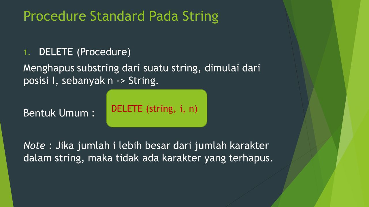 Procedure Standard Pada String
