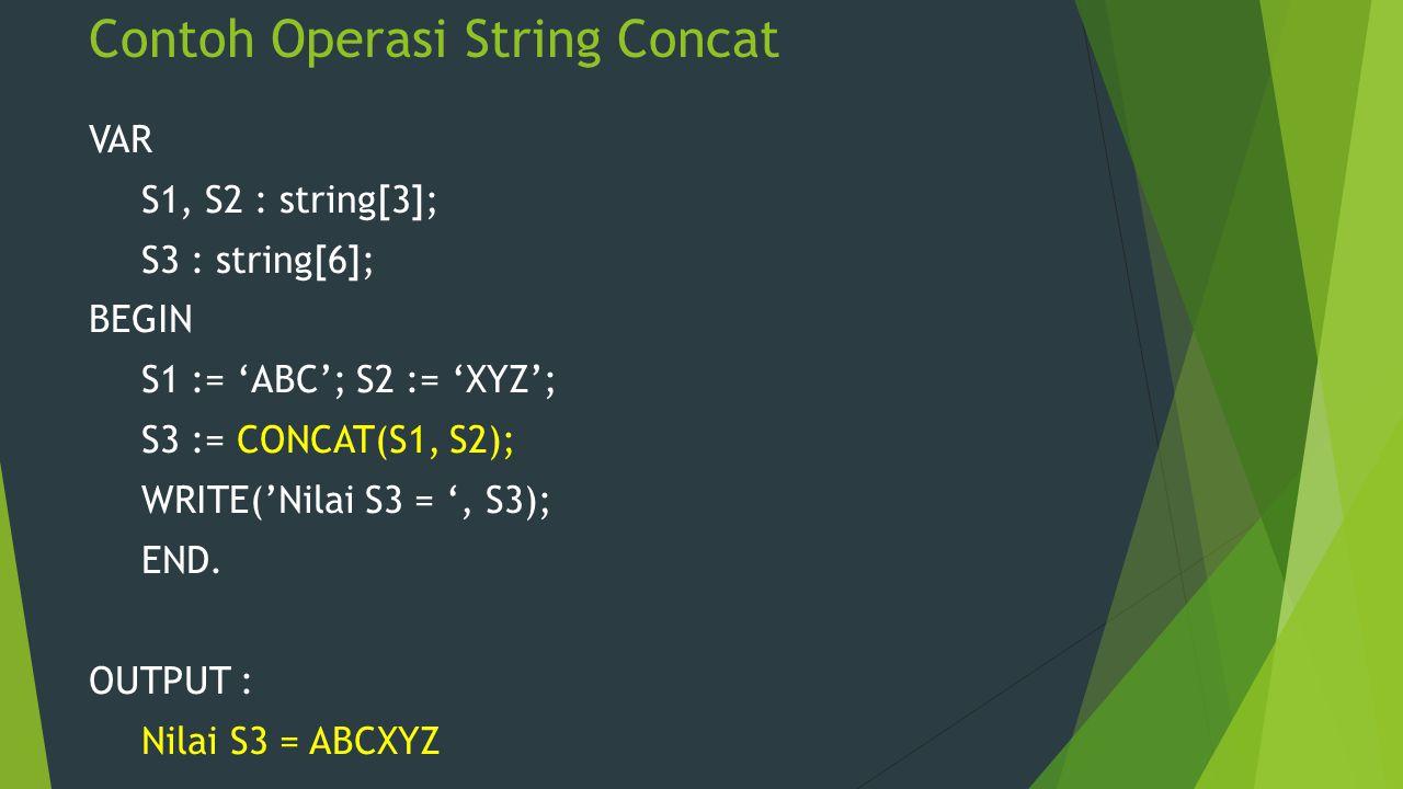 Contoh Operasi String Concat