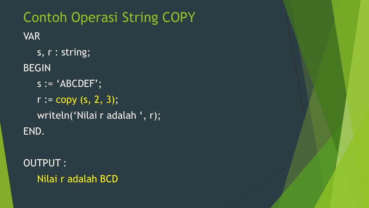 Contoh Operasi String COPY