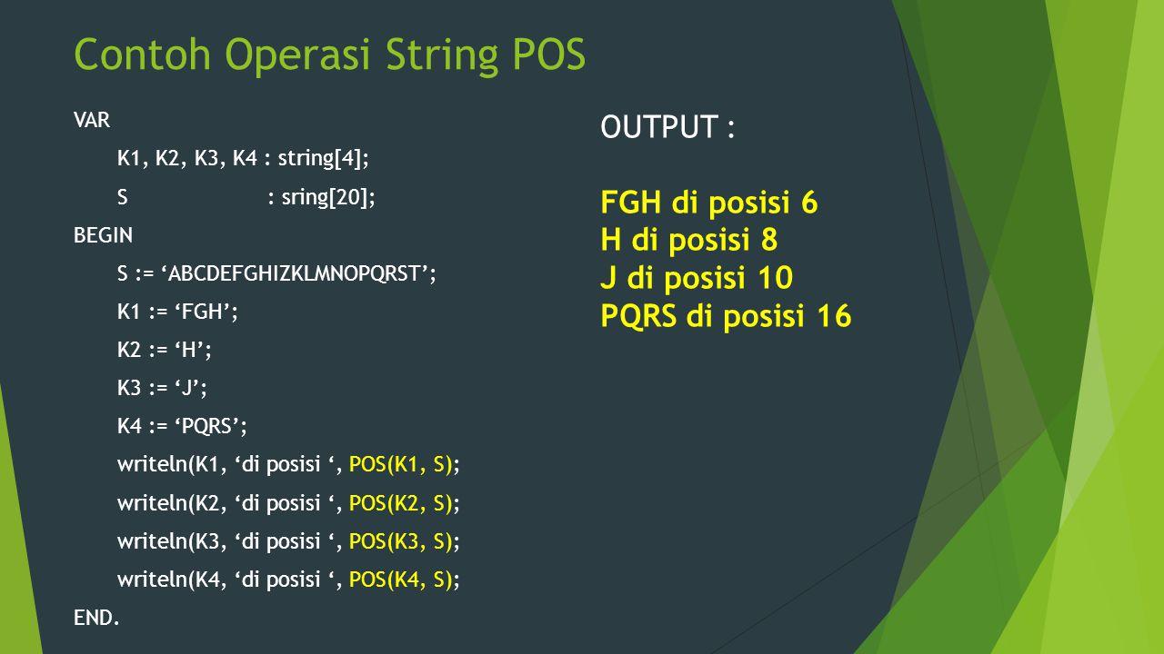 Contoh Operasi String POS